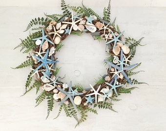 "24"" Beach Wreath, Coastal Wreath, Seashell Wreath, Starfish Wreath, Beach Decor, Coastal Decor, Shell Wreath, Blue Wreath, Grapevine Wreath"