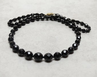 Vintage Black Faceted Jet Bead Necklace