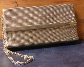 Vintage Mid Century Authentic Australian Rectangular Gold Glomesh Evening Bag