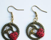 Lady Bug Watch Parts Steampunk Earrings, watch parts Steam Punk, Gear, Cog
