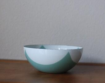 RESERVED - Cathrineholm Seafoam green White Draped square diamond tent pattern 5.5 bowl  RARE  Mid century modern enamel