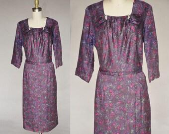 Vintage 40s Purple Watercolor Floral Dress Rhinestone Bow Details Belted Plus Size