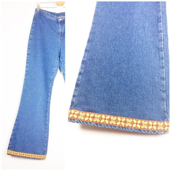 Bell bottom embroidered jeans high waisted women s