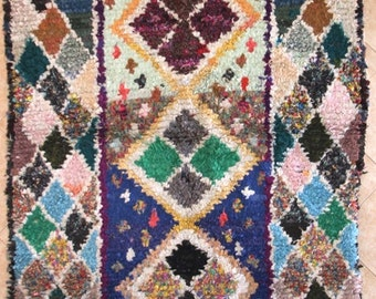 "230X150 cm 7'6"" x 4'11""     L30178 boucherouite , boucharouette,  moroccan rugs , berber rugs, morocco carpets"