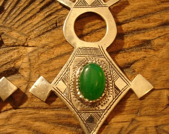 Niger Tuareg shiny  large hand engraved green agate pendant
