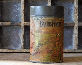 Antique Baking Powder Tin, Grand Union Tea Company,  Primitive Kitchen Decor