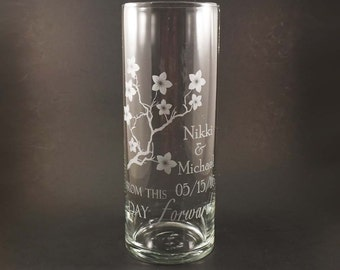 Personalized Unity Candle Vase - Cherry Blossom Wedding Unity Candle - Unity Wedding Ceremony Vase - Cherry Blossom Wedding