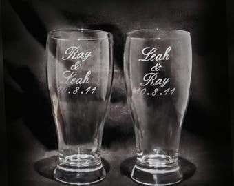 Custom Etched Personalized Pilsner Beer Glasses - Set of 2 - Gift for the Couple - Wedding Glasses - Personalized Drinkware - Pilsner Glass