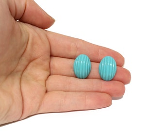Turquoise Carved Cabochon, Matched Pair