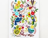 Native New Zealand Flora and Fauna, print, on white