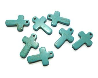 Blue Turquoise Howlite - Cross Pendant - 38mm x 26mm x 5mm - Top Drilled - 3mm Hole - DIY - flat simple - bulk - focal charm