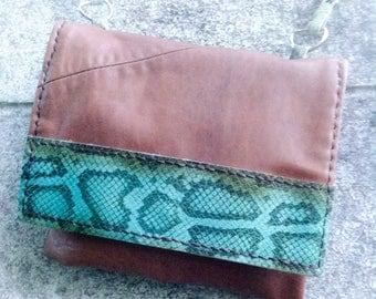 leather messenger bag, snake skin bag, leather clutch