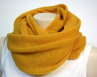 Canary Yellow Mohair Cowl - Fluffy, Soft & Warm