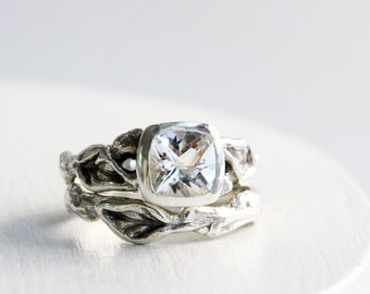 White Topaz Engagement Ring Set,Leaf Twig Sterling Silver Ring Set