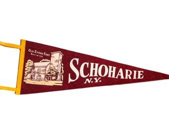 Vintage Schoharie NY Old Stone Fort Felt Flag