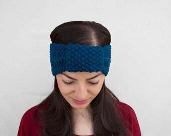 NEW ITEM - Navy Blue Knitting Winter Headband - Blue Knitting Earwarmer - Blue Knitting Turban Headband, ready to ship