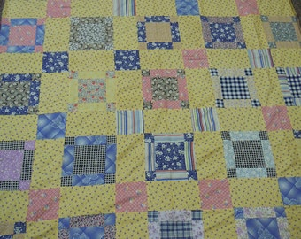 """Vintage quilt top  square in square nine patch 1940's cotton scraps 66'"""" x 81"""" hand pieced  yellow daisy print alternating blocks"""