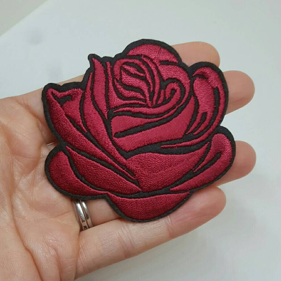 Pcs dark red rose tattoo embroidered applique patches