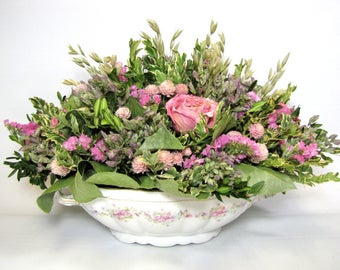 Dried Flower Arrangement in Vintage BavarianChina Bowl, Centerpiece