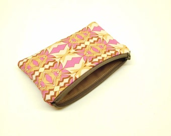 brown purple change purse, purple brown coin purse, gift card holder, business card holder, small purple wallet, small brown money pouch