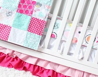 Baby Girl Crib Bedding Set,Hot Pink, Blush, Mint and White Nursery, Ruffle Skirt, Flower Crib Sheet, Minky Patchwork Blanket
