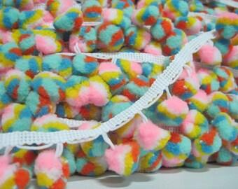5 Yards Multicolored Pom Pom Trim, pom pom fringe, Multicolored pom pom, mint pom pom fringe, Rainbow pom pom, pink pom pom,Colorful pom pom
