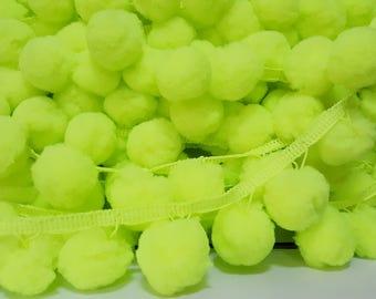 5 Yards Neon Yellow-Green Jumbo Pom Pom Trim, Extra Large Pom Pom Trim, Neon pom pom fringe, Big pom pom Trim, neon trim, neon green trim