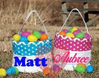 Personalized Easter Canvas Buckets Bags BLUE ONLY