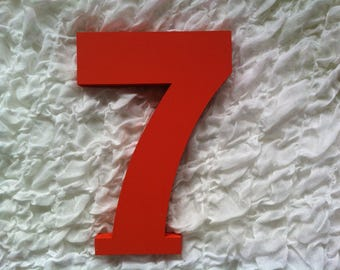 Wooden Wedding Table Numbers - Ariel Font - 20cm high - Number 7, decorative, standing