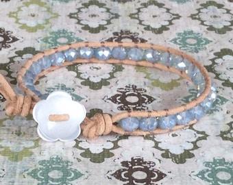 Single Wrap Bracelet Blue Beaded Wrap Free Shipping Opal Baby Blue Crystal Beads