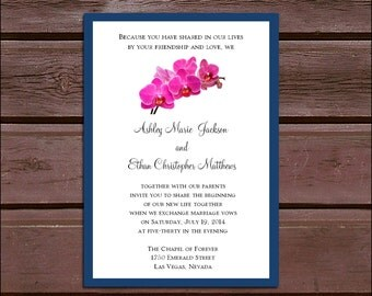 SALE! Orchids Wedding Invitations Set.  Valued at over 600 dollars