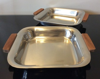 AB Sweden Mid Century Stainless Steel Trays with Teak Handles