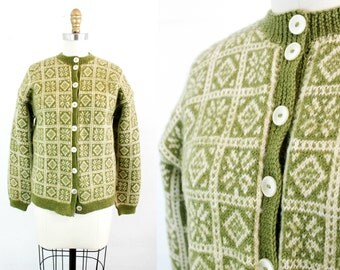Vintage 1950s cardigan . Signs of Spring . hand knit moss green cardigan . 50s / 60s fairisle sweater