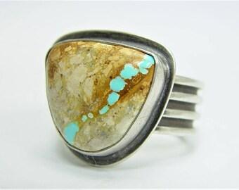 Carmelita Ribbon Turquoise Ring - Size 7 3/4 - 8  Royston Nevada