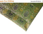 10% OFF on One yard of Indian brocade fabric in olive green In a gorgeous regal pattern