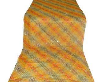 10% OFF on Used Sari ,Dress  Making fabric sarong drape Embroidered Sari