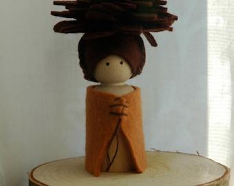 Pinecone peg doll
