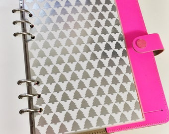 SALE A5 Size Rows of Silver Foil Christmas Trees Laminated Dashboard for Filofax Large Kikki-k Planner
