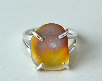Size 7 Sterling Silver Amber Carnival Glass Multi Seaglass Ring From California