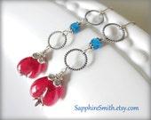 AMERICAN GIRL Artisan Lampwork Glass Earrings, Neon Apatite, Hill Tribe Fine Silver Earrings - 25% off