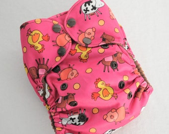 Pink Farm Animals - One Size Pocket Cloth Diaper