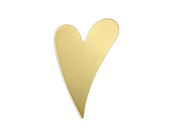 Brass Swirly Heart Stamping Blank, 24 gauge, Choose Quantity - Bulk Available, Metal Stamping Blank, Hand Stamped Jewelry Supply