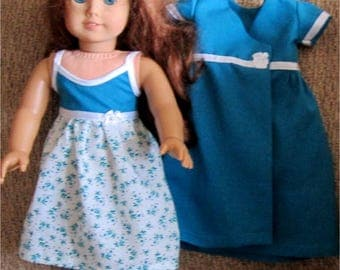 Blue and White Flower Print Nightgown Robe Slippers Set Fits American Girl or Similar 18 Inch Doll