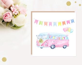 Pastel Pink VW Camper Van Wedding Greeting Card, vw camper van, wedding card, ideal for camper van lovers