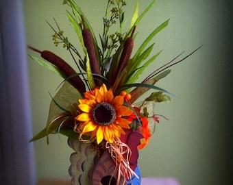 ON SALE Rustic Rooster Sunflower Floral Arrangement Home Decor