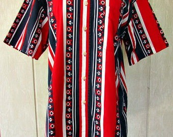 vintage 90s catalina mens red white blue shirt nautical patriotic line dancing