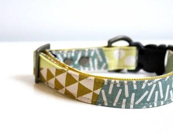 Triangle Geometric Patchwork Cotton Linen Dog Collar - mustard, moss green - Antique brass
