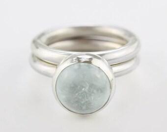 Aquamarine ring. Pair of aquamarine rings.