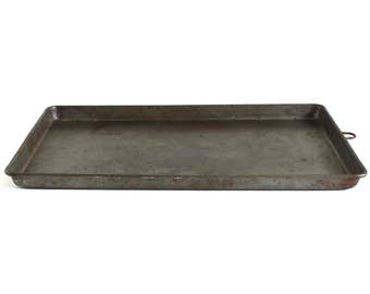 Distressed Cookie Sheet Biscuit Baking Tray Jelly Roll Pan Ekcoloy Silver Beauty T11A-18 Darkened Metal Food Photography Prop Rectangular