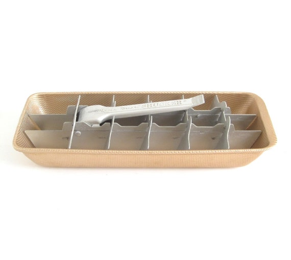 Metal Ice Cube Tray Aluminum with Lever, Magic Touch Shucker, Copper Anodized